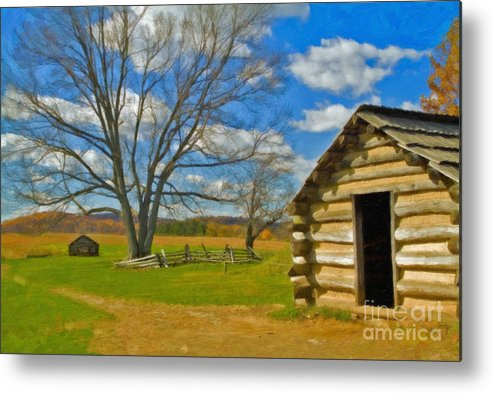 Valley Forge Metal Print featuring the photograph Log Cabin Valley Forge Pa by David Zanzinger
