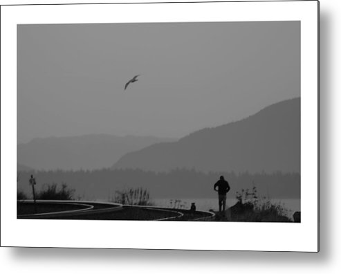 Black Metal Print featuring the photograph Long Walk by J D Banks