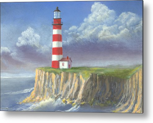 Light Metal Print featuring the painting Lost Point Light by Jerry McElroy