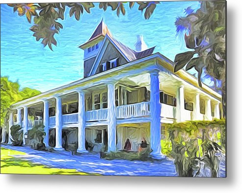 South Carolina Metal Print featuring the mixed media Magnolia Plantation House by Dennis Cox Photo Explorer