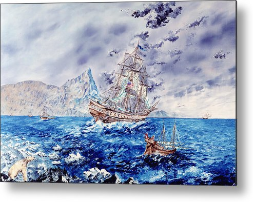 Tall Ships Metal Print featuring the painting Maiden Voyage by Richard Barham
