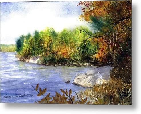 Nature Metal Print featuring the painting Maine Fall Pond by Laura Tasheiko