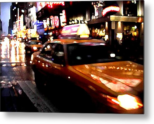 Taxi Metal Print featuring the painting Manhattan Taxis by Jose Roldan Rendon