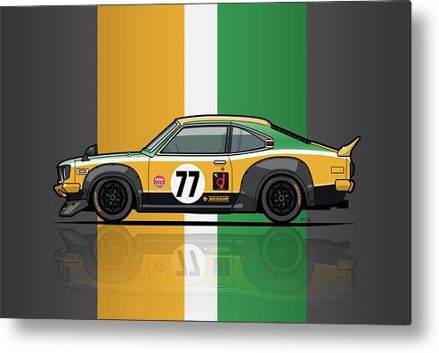 Car Metal Print featuring the digital art Mazda Savanna Gt Rx3 Racing Yoshimi Katayama 1975 by Monkey Crisis On Mars