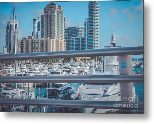 Florida Metal Print featuring the photograph Miami Marina by Claudia M Photography