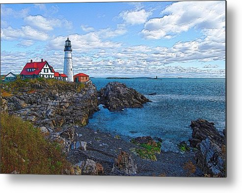 Lighthouse Metal Print featuring the photograph Midday - Portland Head Light by Robert Boyette