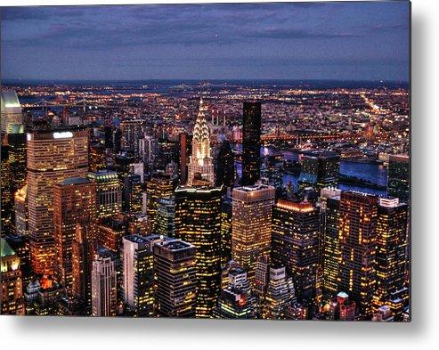 Manhattan Metal Print featuring the photograph Midtown Skyline At Dusk by Randy Aveille