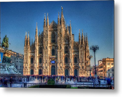 Hdr Metal Print featuring the photograph Milan Duomo by E R Smith