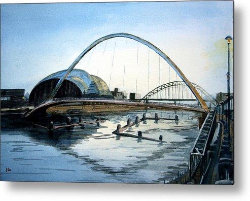 Bridge. River. Tyne. Newcastle. England. Uk. Metal Print featuring the painting Millenium Bridge. Newcastle Upon Tyne. by John Cox