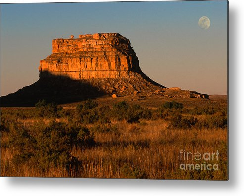 New Mexico Metal Print featuring the photograph Moonset At Fajada Butte by Sandra Bronstein