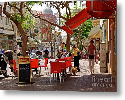 Morning Metal Print featuring the photograph Morning On A Street In Tel Aviv by Zalman Latzkovich