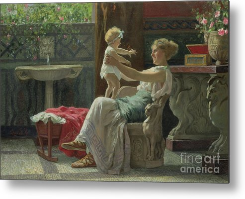 Baby; Roman; Fountain; Interior; Classicising; Classical; Antique; Scene; Mother; Child; Cradle; Maternal; Maternity; Love; Family; Smile; Laughing; Playing; Ribbon Metal Print featuring the painting Mother's Darling by Zocchi Guglielmo