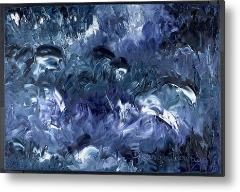 Abstract Metal Print featuring the painting Nage Avec Les Dauphins by Dominique Boutaud