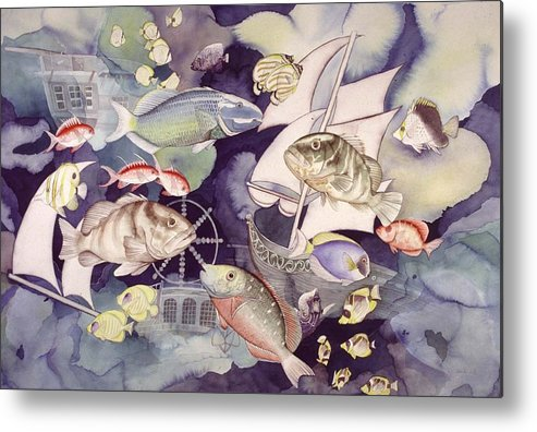 Sealife Metal Print featuring the painting Nautical Players by Liduine Bekman