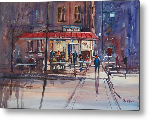 Street Scene Metal Print featuring the painting Night Cafe by Ryan Radke
