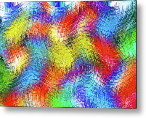 Abstract; Abstraction; Background; Patterns; Woven; Weave; Sewn; Fabric; Tapestry; Textiles Metal Print featuring the photograph Nostalgic Marbles 6 - Woven Waves by Steve Ohlsen