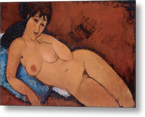 Amedeo Modigliani Metal Print featuring the painting Nude On A Blue Cushion by Amedeo Modigliani
