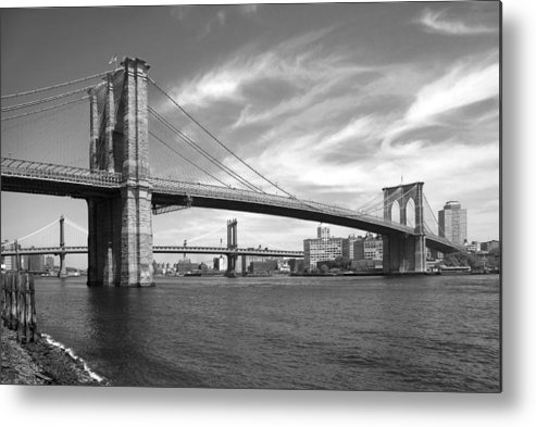 Bridge Metal Print featuring the photograph Nyc Brooklyn Bridge by Mike McGlothlen