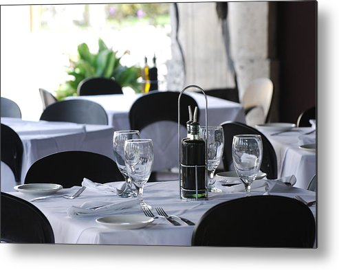 Tables Metal Print featuring the photograph Oils And Glass At Dinner by Rob Hans