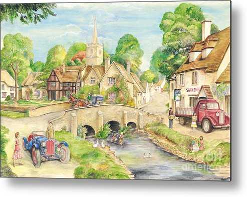 Art Metal Print featuring the painting Old English Village by Morgan Fitzsimons