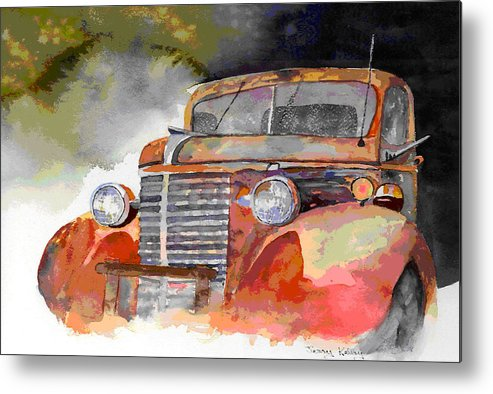 Truck Metal Print featuring the painting Old Truck by Jerry Kelley