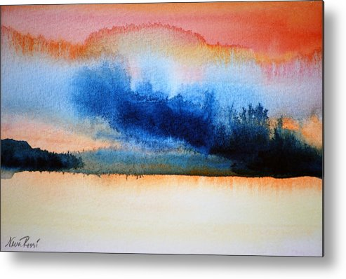 Landscape Metal Print featuring the painting Orange Solitude by Neva Rossi