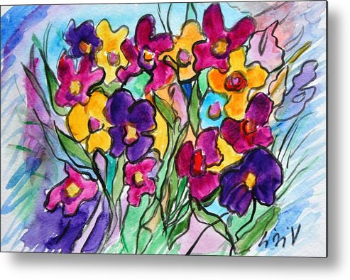 Flowers Metal Print featuring the painting Pansies by Luiza Vizoli