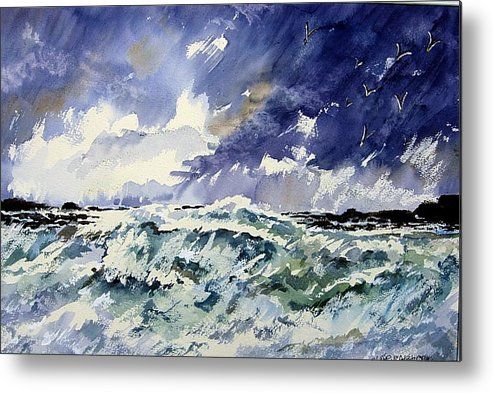 Metal Print featuring the painting Passing Storm At The Blaskets by Wilfred McOstrich