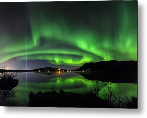 Iceland. Northern Lights Metal Print featuring the photograph Peace Column by Bragi Kort
