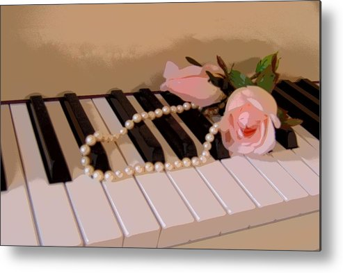 Still Life Metal Print featuring the photograph Pearly Pink Keys by Florene Welebny