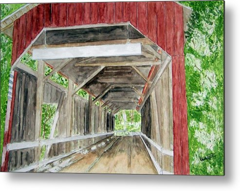 Covered Bridge Art Metal Print featuring the painting Pennsylvania Inside And Out by Larry Wright