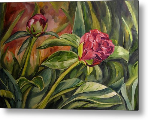 Garden Metal Print featuring the painting Peony Buds by Cheryl Pass