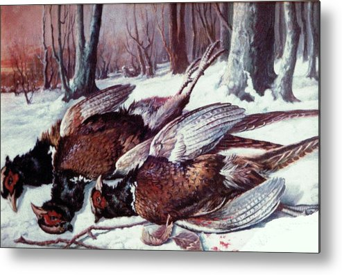 Metal Print featuring the painting Pheasants Hunt - Sold by Florentina Popa