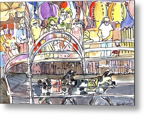 Pig Metal Print featuring the painting Pig Races by Mindy Newman