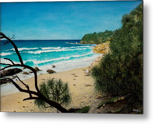 Seascape; Point Perry Metal Print featuring the painting Point Perry Coolum Beach by Joe Michelli