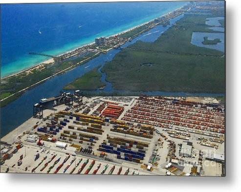 Artwork Metal Print featuring the painting Port Everglades Florida by David Lee Thompson