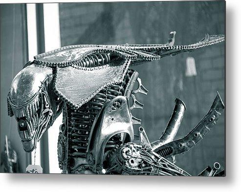 Alien Metal Print featuring the sculpture Predator by Yurix Sardinelly