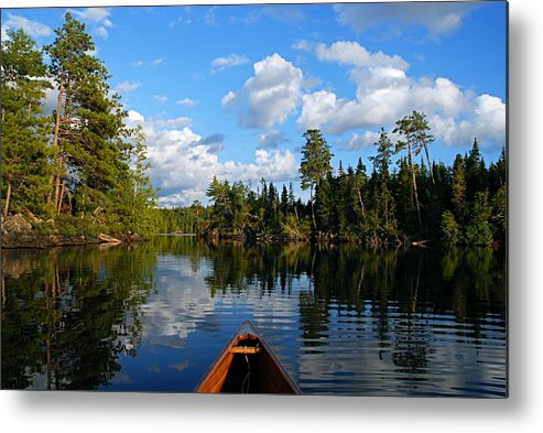 Spoon Lake Metal Print featuring the photograph Quiet Paddle by Larry Ricker