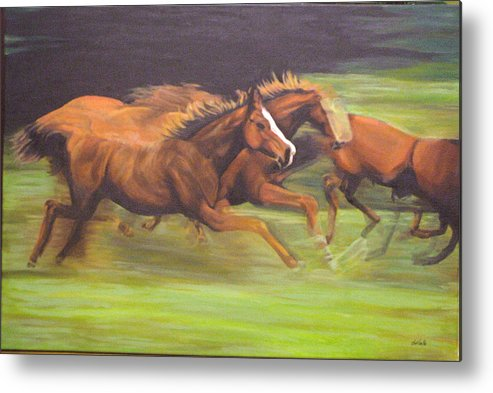 Horse Metal Print featuring the painting Racing Horses by Srilata Ranganathan