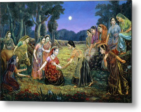 Vedas Metal Print featuring the painting Radha Lamenting With The Gopis by Dominique Amendola