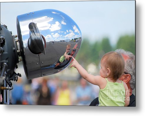 Children Metal Print featuring the photograph Reflection by Larry Keahey