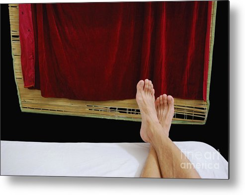 Photograpny Legs Curtain Red Balck White Abstract Metal Print featuring the photograph Relax by Ty Lee