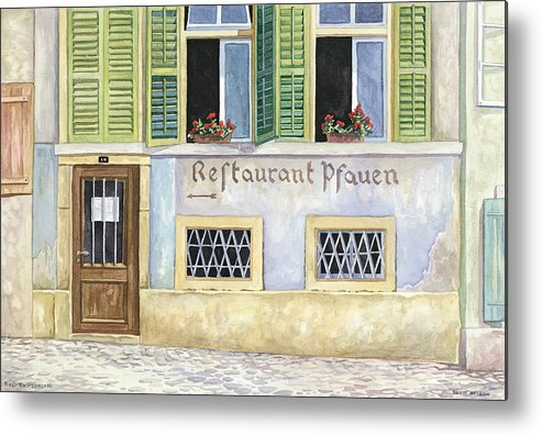 Restaurant Metal Print featuring the painting Restaurant Pfauen by Scott Nelson