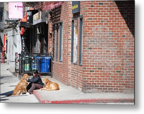 Girl Metal Print featuring the photograph Resting On The Corner by Rob Hans