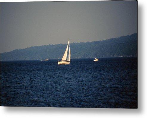 Lake Metal Print featuring the photograph Sailboat On Seneca Lake by Roger Soule