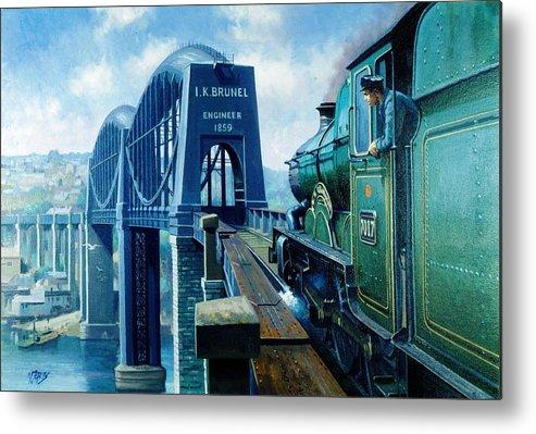 Saltash Bridge Metal Print featuring the painting Saltash Bridge. by Mike Jeffries
