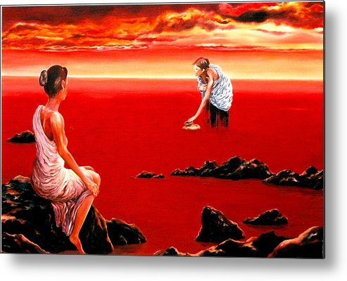 Red Metal Print featuring the painting Scarlet Evening In December by Mark Cawood