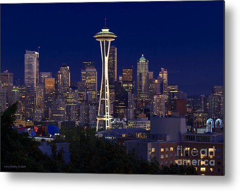 Seattle Metal Print featuring the photograph Seattle At Night by Larry Keahey