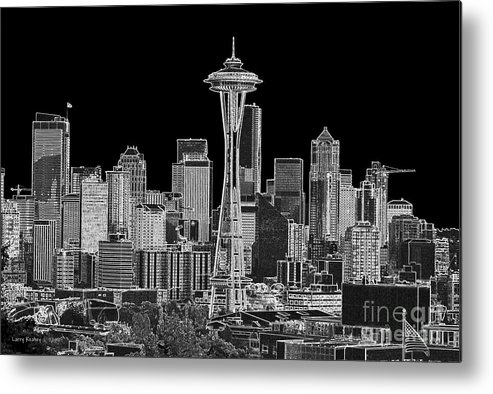 Black And White Metal Print featuring the photograph Seattle Black And White by Larry Keahey