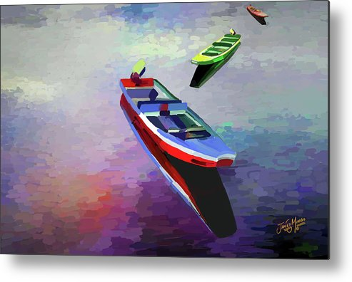 Boats Metal Print featuring the painting Set Adrift by James Mingo